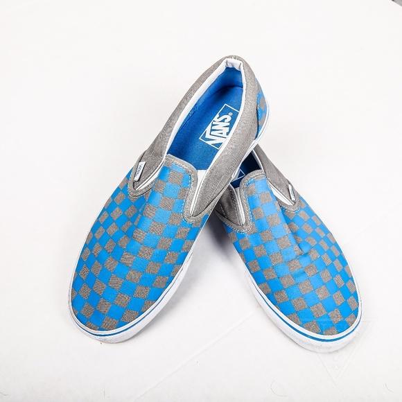 blue gray checkered vans